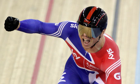 Chris Hoy celebrates winning gold in the Men's Sprint