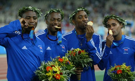 Mark Lewis-Francis, Marlon Devonish, Darren Campbell and Jason Gardener celebrate winning