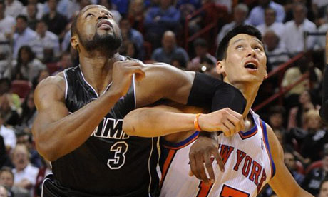 Miami Heat Dwyane Wade and New York Knicks Jeremy Lin