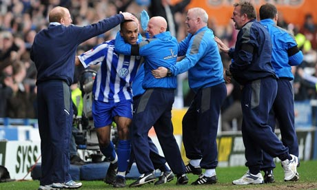 Chris O'Grady celebrates scoring Sheffield Wednesday's winning goal