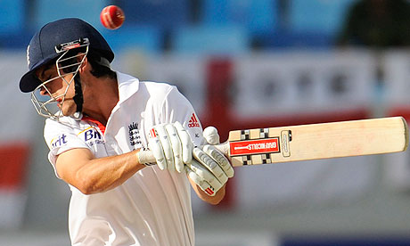 England's Alastair Cook avoids a ball