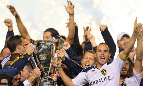 MLS: Landon Donovan of LA Galaxy lifts MLS Cup