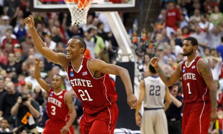 North Carolina State's CJ Williams celebrates vs Georgetown. March Madness