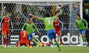 David Estrada celebrates for Seattle Sounders vs Toronto FC. MLS