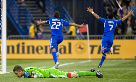 Davy Arnaud and Felipe Martins of Montreal Impact celebrate vs Chicago Fire. MLS