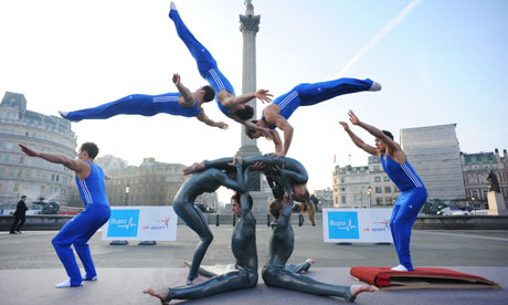 gymnast Dan Keatings performs the first human vault with Britain's Got Talent winners 'Spelbound'