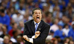 Kentucky Wildcats head coach John Calipari vs Indiana Hoosiers. March Madness