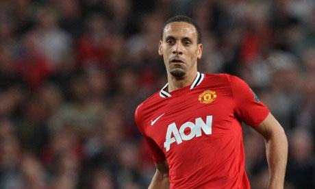 The Manchester United defender Rio Ferdinand in action