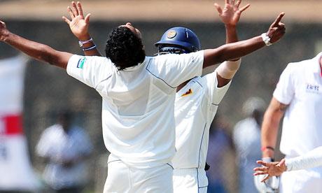 Suraj Randiv celebrates the wicket of Kevin Pietersen