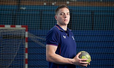 Bobby White at training for London 2012 with the British handball team