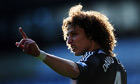David Luiz of Chelsea gestures during the match against West Bromwich Albion