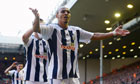 Peter Odemwingie of West Bromwich Albion celebrates