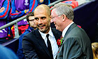 Pep Guardiola, left, and Sir Alex Ferguson prior to last season's Champions League final