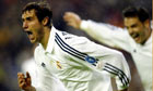 Real Madrid's Ivan Helgera shouts in celebration