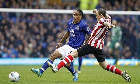 Sunderland's David Vaughan and Everton's Steven Pienaar battle