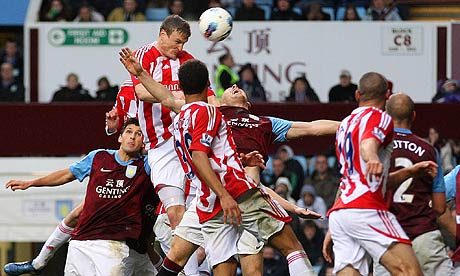 Robert Huth scores Stoke City's equaliser against Aston Villa