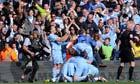 Manchester City players celebrate Sergio Agüero's Premier League title winning goal.