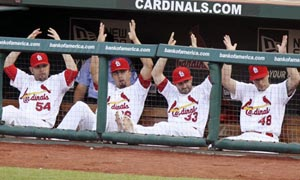 St. Louis Cardinals' Jaime Garcia, Kyle Lohse, Daniel Descalso and Tony Cruz