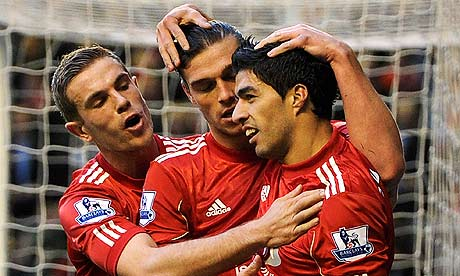 Liverpool players celebrate against Chelsea