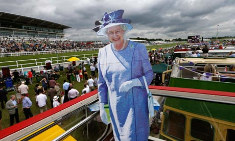The Queen in cardboard at Epsom races
