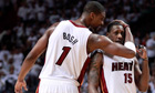 Miami Heat's Chris Bosh and Mario Chalmers