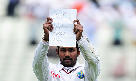 Denesh Ramdin reveals the piece of paper which was his response to stinging criticism