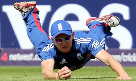 England's Jonny Bairstow takes the catch to remove s Lendl Simmons