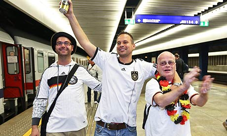 German fans arrive in Warsaw ahead of today's Euro 2012 semi-final against Italy.