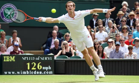 Andy Murray reaches for a forehand return during his  match against Ivo Karlovic