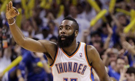 Oklahoma City Thunder guard James Harden gestures during the second half against San Antonio Spurs