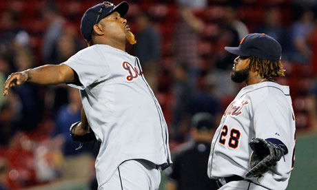 Detroit Tigers' Jose Valverde and Prince Fielder