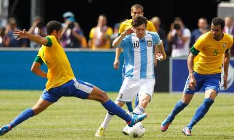 Argentina forward Lionel Messi vs Brazil