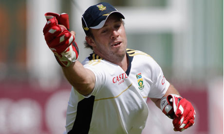 AB de Villiers of South Africa during net practice at Canterbury