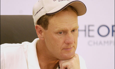 Mark Roe gives a press conference after being disqualified in 2003