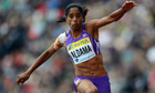 Britain's Yamilé Aldama competes in the women's triple jump final at Crystal Palace, 14 July
