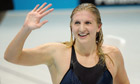 Rebecca Adlington celebrates her bronze medal in the 400m freestyle, London 2012 Olympics