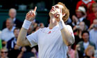 Andy Murray looks to the sky after victory over Jo-Wilfried Tsonga in Wimbledon semi-final