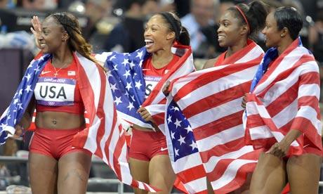 Bianca Knight, Allyson Felix, Carmelita Jeter, Tianna Madison celebrate winning 4x100m relay final