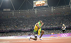 Usain Bolt celebrates after sealing the gold medal for Jamaica in the 4x100m relay final