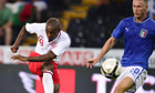 England's Jermain Defoe hammers the ball past Italy defender Ignazio Abate to score the winner