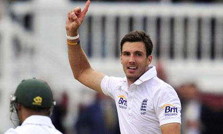 England's Steven Finn celebrates