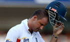 England captain Andrew Strauss leaves the field after being trapped lbw by Vernon Philander