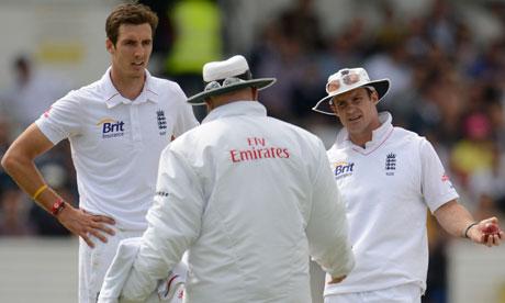 England's Steven Finn and Andrew Strauss