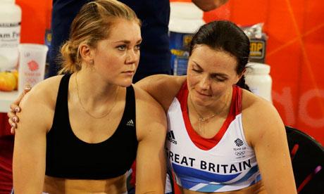 Britain's Victoria Pendleton, right, and Jess Varnish