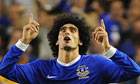 Everton's Marouane Fellaini celebrates