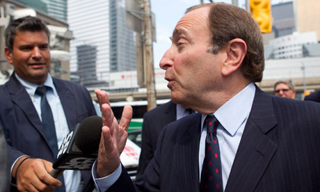NHL commissioner Gary Bettman, right, has offered the NHLPA a deal
