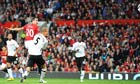 Robin Van Persie scores the equalising goal for Manchester United against Fulham