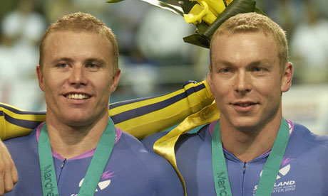 Craig MacLean, left, with Chris Hoy at the 2002 Commonwealth Games in Manchester