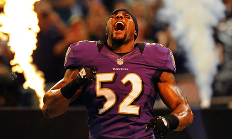 Baltimore Ravens linebacker Ray Lewis is introduced to the crowd before playing the Detroit Lions