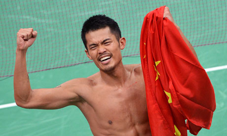 China's Lin Dan celebrates